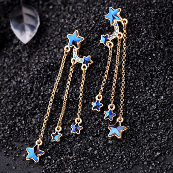 European and American blue female style dress pendant stud