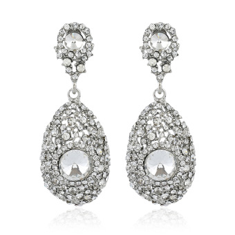 European and American diamond set water drop alloy exaggerated earrings crystal earrings