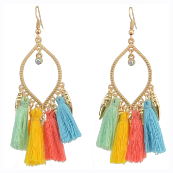 European and American multi-color elegant exaggerated earrings tassled earrings