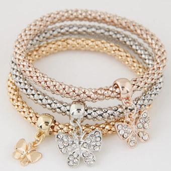 European- and American-style Multi-element Punk Three-color Bracelet with Pendant Jewellery Women Fashion Jewellery Bracelets