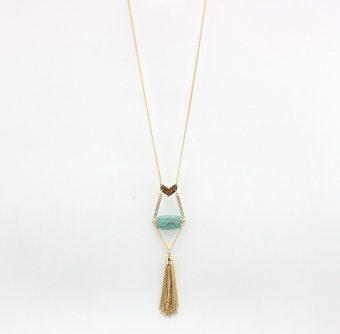 European and American style tassled arrow-shaped long necklace turquoise necklace