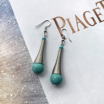 European and American tassled ancient silver drop earrings turquoise earrings