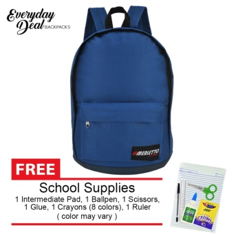 Everyday Deal Merletto School Backpack (Blue) with FREE School Supplies