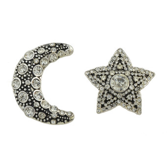 Famous European and American hot selling New style moon earrings not symmetrical stud