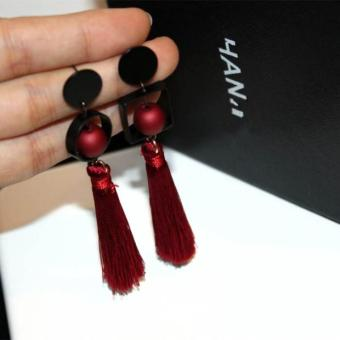 Famous versatile elegant female earrings tassled stud