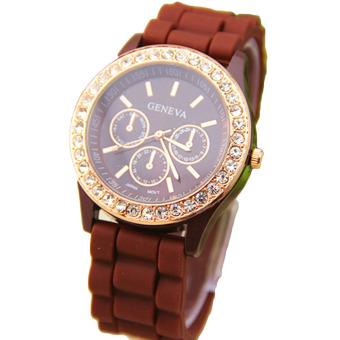 Fancyqube Fashion Lady Diamond Jelly Watch Coffee