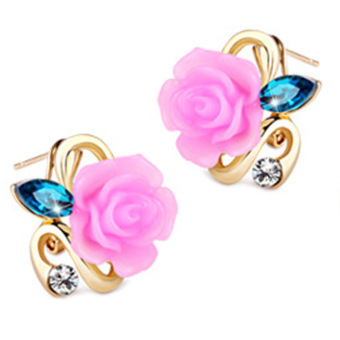 Fancyqube Gold Plated Rose Flower Earring Light Purple