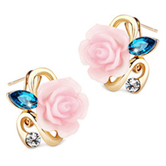 Fancyqube Gold Plated Rose Flower Earring Pink