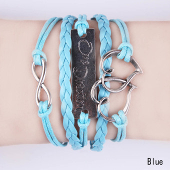 Fancyqube Infinity One Direction Heart Leather Charm Bracelet Blue