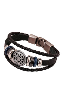 Fancyqube Punk Style Retro Female Handmade Leather Bracelet Black