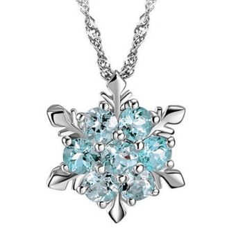 Fancyqube Women Crystal Wedding 925 silver jewelry Necklace LightBlue Price Philippines