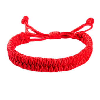Fancyqube Women Or Men Chinese Style Lucky Red Rope Bracelet CottonRope Chain Bangle -Red