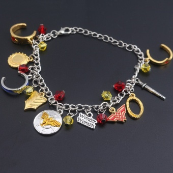 Fantastic Flower DC Comics Marvel Superhero Wonder Woman Logo Vintage Chain Bracelet Wristlet Bangle-Silver - intl
