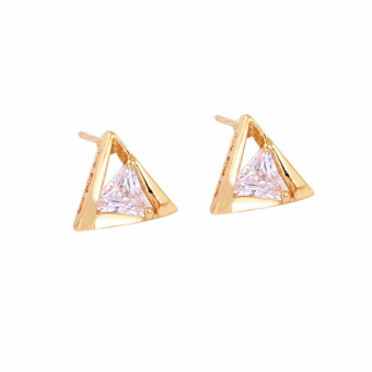 Fashion 18k Gold Plated Triangle Shape Insert White Crystal Stud Earrings (Intl)