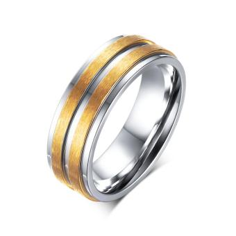 Fashion 6mm Stainless Titanium Steel Gold Plated Round Rings ForMen - intl