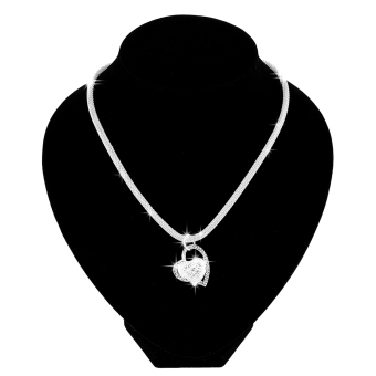 Fashion 925 Sterling Silver Double Heart Pendant Necklace Chain Women Jewelry UK - Intl