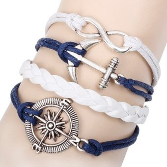 Fashion Alloy Anchor Rudder Leather Friendship Love Couple Charm Bracelet (Intl) Price Philippines
