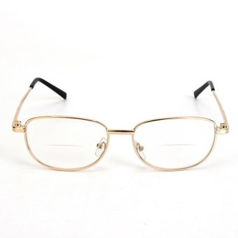 Fashion Bifocal Lens Rimmed Men's Reading Glasses Gold Metal FrameEyeglasses 3 Price Philippines