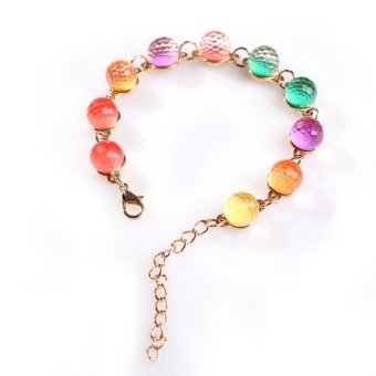 Fashion Colourful Crystal Rainbow Candy Color Ball Beaded Strand Bracelet - Intl