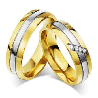 Fashion Couple Rings 18K Gold Plated Wedding Ring Engagement Anniversary for Women Men - intl