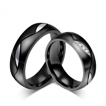 Fashion Couple Rings Black Wedding Ring for Women and Men JewelryCZ Engagement Wedding Bands Classic Style - intl