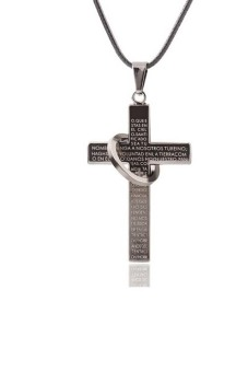 Fashion Cross Necklace For Men's Scriptures Cross Necklace - intl