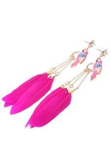 Fashion Exotic National Style Rose Red Feathers Parrot Pendant Earrings