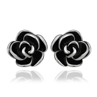 Fashion Flower Earrings Studs 18K Platinum & Gold Womens Ladies Girls Eardrop - Intl