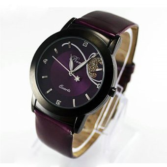 Fashion Girl Lady Women Luxury Diamond Pretty Quartz Wrist Watch Purple