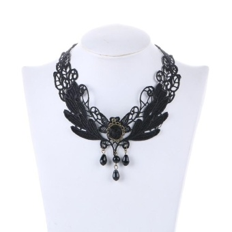 Fashion Gothic Choker Necklaces For Women 2017 Beauty Girl HandmadeJewerly Vintage Black flower Lace Necklace - intl