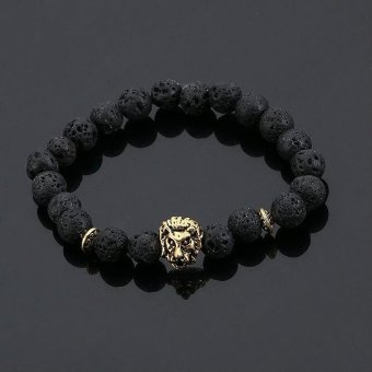 Fashion Jewelry Gold Buddha Leo Lion Head Bracelet Black Lava StoneBeaded Bracelets Pulseras Hombre For Men Women - intl Price Philippines