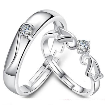 Fashion Lovers Rings Silver Adjustable Couple Ring Jewelry E002 - intl - 5