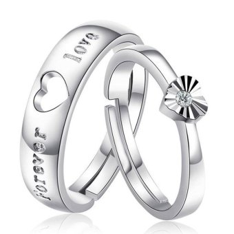 Fashion Lovers Rings Silver Adjustable Couple Ring Jewelry E003 -intl