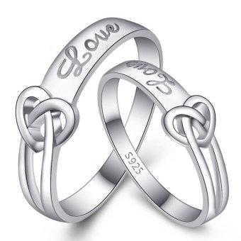 Fashion Lovers Rings Silver Adjustable Couple Ring Jewelry E010 - intl