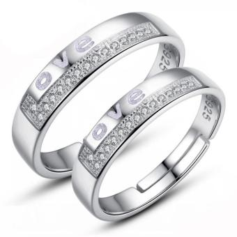 Fashion Lovers Rings Silver Adjustable Couple Ring Jewelry E022 -intl