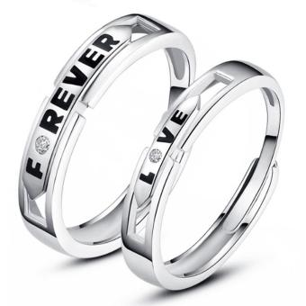 Fashion Lovers Rings Silver Adjustable Couple Ring Jewelry E023 - intl