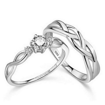 Fashion Lovers Rings Silver Adjustable Couple Ring Jewelry E028 - intl