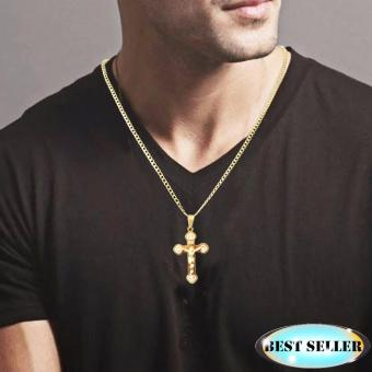 Fashion Men Jewelry Gold Plated Necklace Cross Plating Cristal