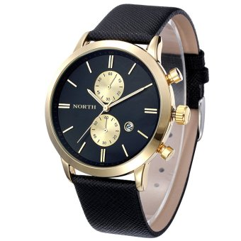 Fashion Men's Casual Waterproof Date Leather Military Japan Watch Gift (Black/Gold)