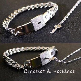 Fashion Silver His and Hers Key Necklace And Lock Bracelet Couple Jewelry Valentines Gifts(Necklace +Bracelet ) - intl