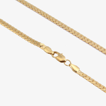 Fashion Simple Design Gold Plated Flat Curb Chain Necklace for Men Women - 5