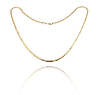 Fashion Simple Design Gold Plated Flat Curb Chain Necklace for MenWomen (Intl)