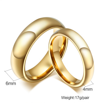 Fashion Tungsten Couple Rings 6MM/4MM Wide 18k Gold Plated Wedding Ring for Women and Men Jewelry - intl - 2