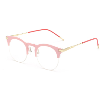 Fashion Vintage Retro Cat Eye Glasses Pink Frame Glasses Plain forMyopia Women Eyeglasses Optical Frame Glasses Oculos FemininosGafas - Intl
