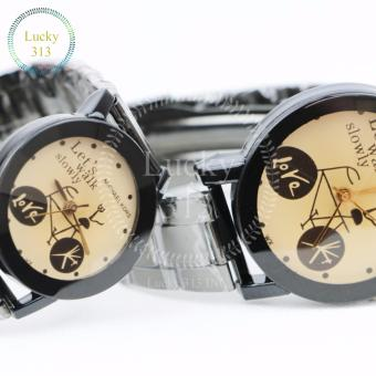 Fashion Watch Stainless Steel Bracelet for Couple (Gold BG) - 5