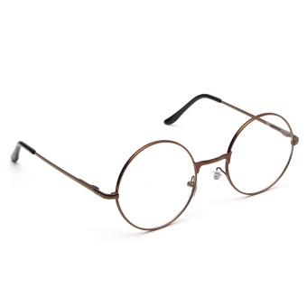 Fashion Women Men Vintage Round Mirror Lens Eyeglasses Glasses Eyewear Unisex coffee - 2