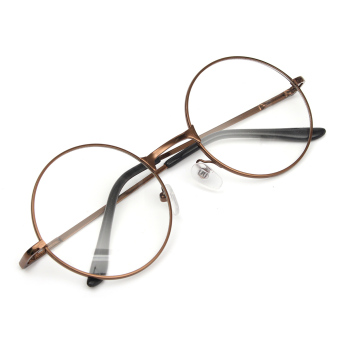 Fashion Women Men Vintage Round Mirror Lens Eyeglasses Glasses Eyewear Unisex coffee