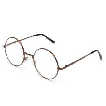 Fashion Women Men Vintage Round Mirror Lens Eyeglasses Glasses Eyewear Unisex coffee - 4