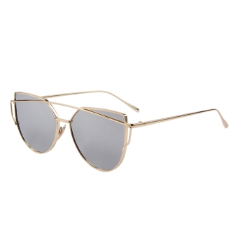 Fashion Women Sunglasses Metal Frame Mirror Big Lens Eyewear Shades Glasses