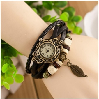 Fashion Women Watches Leather Bracelets & BanglesVintageCrystal Buddha Beads Handmade Bracelet Wristband - intl